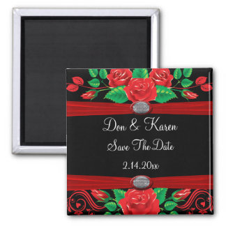 Red Vine Roses On Black Save The Date Magnet
