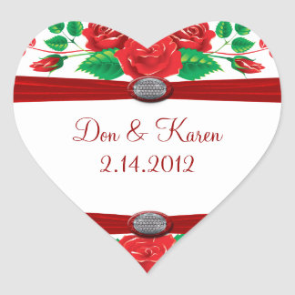 Red Vine Roses On White Heart Heart Sticker