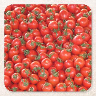 Red Vine Tomatoes Square Paper Coaster