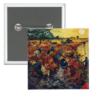 Red Vineyard Van Gogh 1888 Button