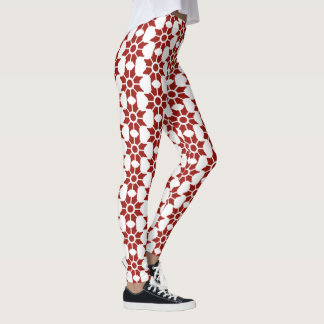 Red Vintage Abstract Pointed Flower Design Leggings