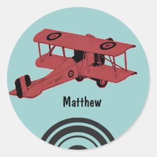 Red vintage biplane sticker