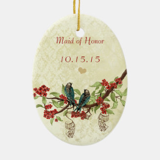 Red Vintage Bird Maid of Honor Ornaments