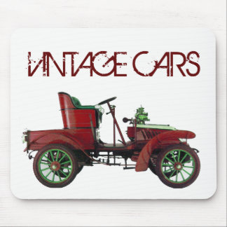 RED VINTAGE CAR,CLASSIC AUTOMOTIVE, White Mouse Pad