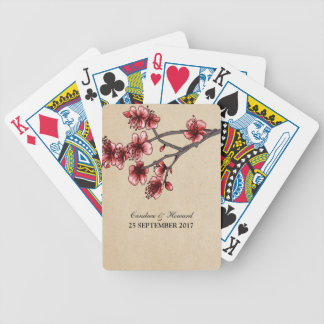 Red Vintage Cherry Blossoms Cards