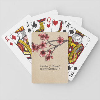 Red Vintage Cherry Blossoms Playing Cards