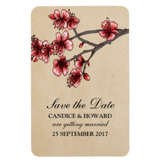 Red Vintage Cherry Blossoms Save the Date Rectangular Photo Magnet