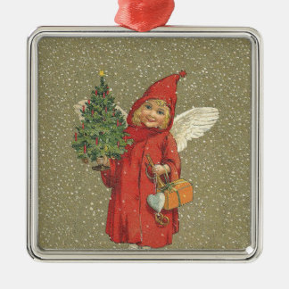 Red Vintage Christmas Angel Tree Metal Ornament