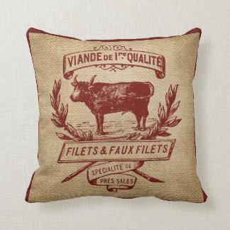 Red Vintage Cow Deli Advertisment Burlap Cushion