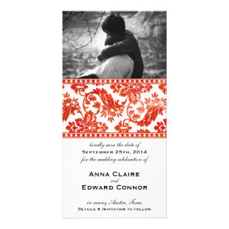 Red Vintage Damask Lace Save the Date Photo Card
