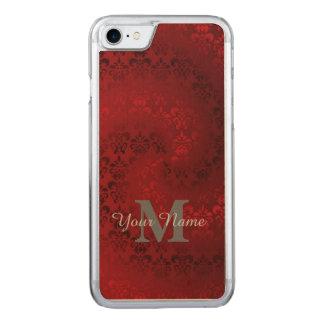 Red vintage damask monogram pattern carved iPhone 8/7 case
