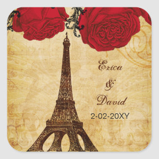 red vintage eiffel tower Paris envelopes seals Square Sticker