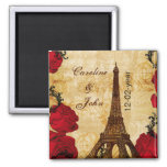 red vintage eiffel tower Paris save the date Square Magnet