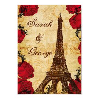 red vintage eiffel tower Paris wedding invite