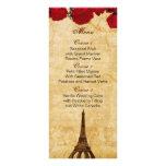 red vintage eiffel tower Paris wedding menu cards Full Color Rack Card