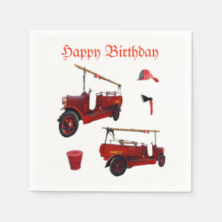 Red Vintage Fire Equipment And Birthday Logo, Disposable Napkin
