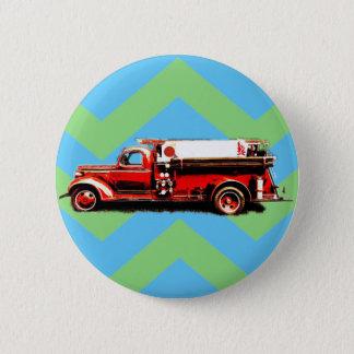 Red Vintage Fire Truck 6 Cm Round Badge
