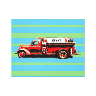 Red Vintage Fire Truck Canvas Print