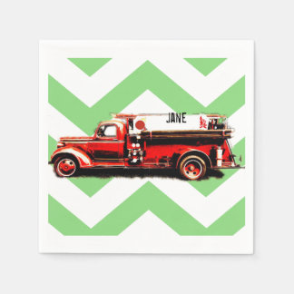 Red Vintage Fire Truck Disposable Serviette