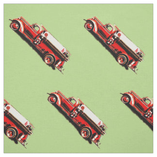 Red Vintage Fire Truck Fabric