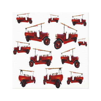 Red Vintage Fire Trucks Pattern, Canvas Print