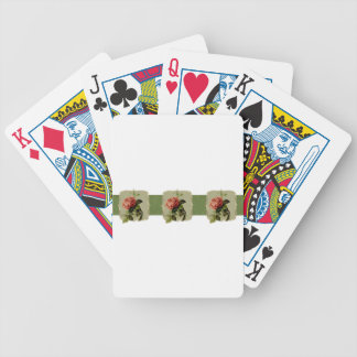 Red Vintage Flowers Wide Bicycle Playing Cards