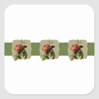 Red Vintage Flowers Wide Square Sticker