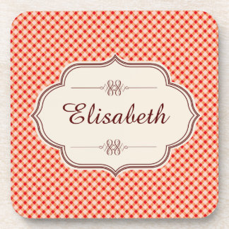 Red vintage gingham calligraphy name coaster