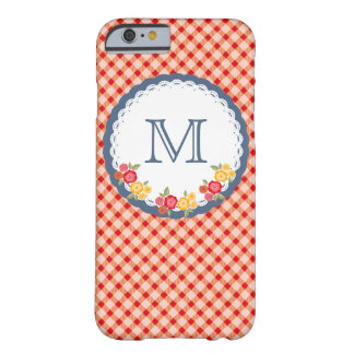 Red vintage gingham flower monogram barely there iPhone 6 case