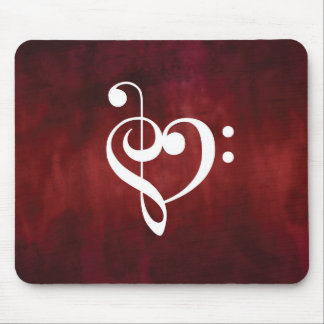 Red Vintage Grunge Treble & Bass Clef Heart Mouse Pad