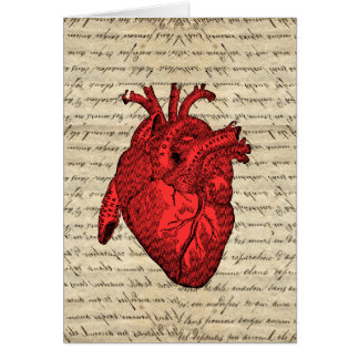 Red vintage heart note card