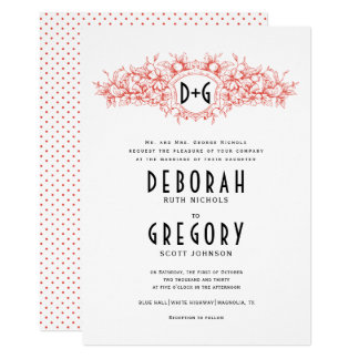 Red vintage heraldic crest and initials wedding card