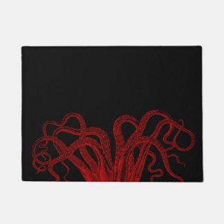 Red Vintage Octopus Tentacles Illustration Doormat