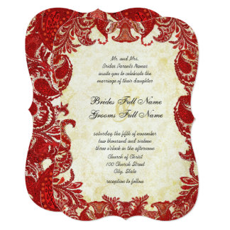 Red Vintage Paisley Damask Wedding Card