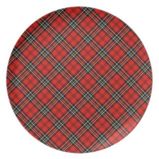 Red Vintage Plaid Pattern Plate