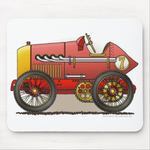 Red Vintage Race Car Mouse Pad
