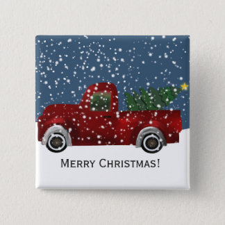 Red vintage Retro Truck and  Christmas Tree 15 Cm Square Badge