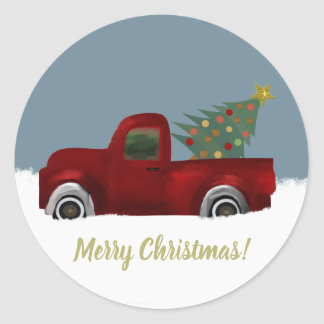 Red vintage Retro Truck and  Christmas Tree Classic Round Sticker