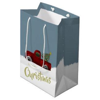 Red vintage Retro Truck and  Christmas Tree Medium Gift Bag