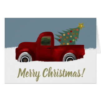 Red vintage Retro Truck Christmas Tree Card