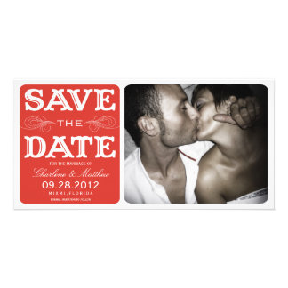 RED VINTAGE  | SAVE THE DATE ANNOUNCEMENT CUSTOMIZED PHOTO CARD