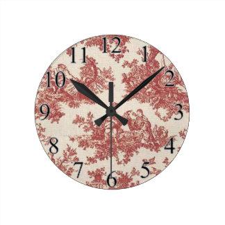 Red Vintage Toile Round Clock