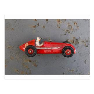 Red vintage toy car postcard