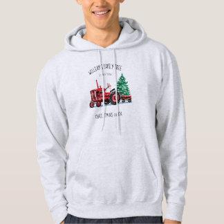 Red Vintage Tractor Christmas Tree Add Name Hoodie