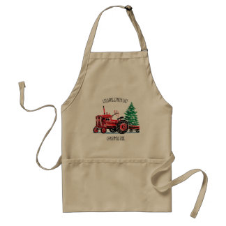 Red Vintage Tractor Christmas Tree Chef Standard Apron