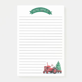 Red Vintage Tractor Christmas Tree Shopping List Post-it Notes