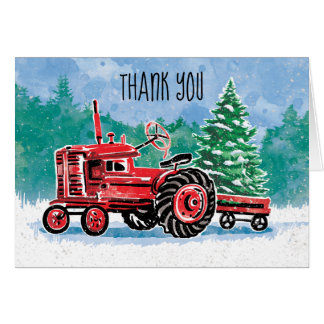 Red Vintage Tractor Christmas Tree Thank You Card
