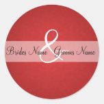Red Vintage Wedding Invitation Seals Round Sticker
