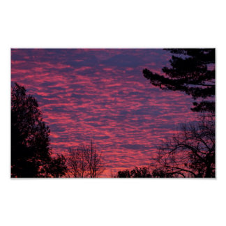 Red-violet sunset poster