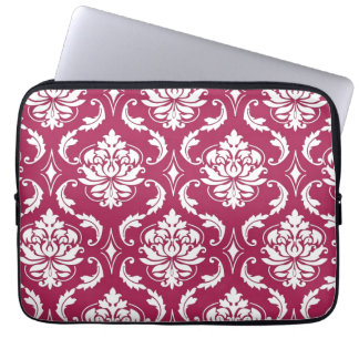 Red-Violet White Classic Damask Pattern Laptop Computer Sleeves